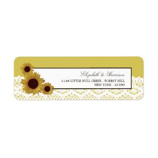 Sunflowers and Vintage Lace Wedding Return Address Label
