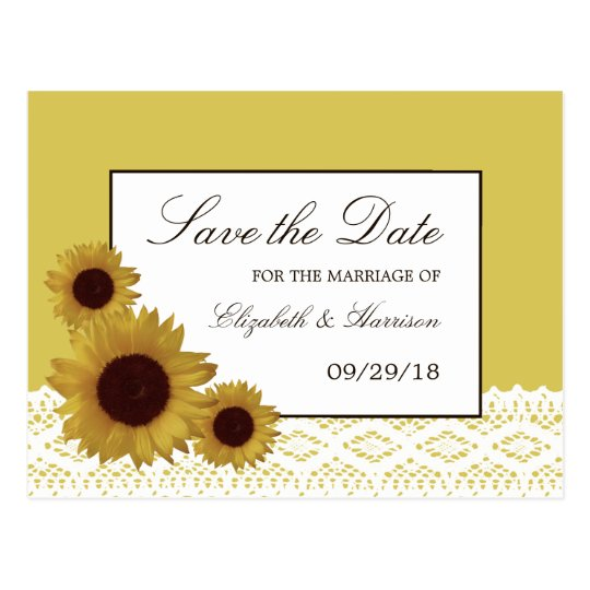 Sunflowers and Vintage Lace Wedding Save The Date