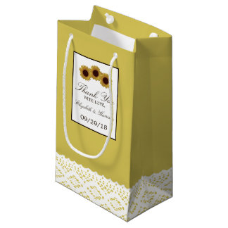 Sunflowers and Vintage Lace Wedding Small Gift Bag