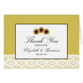 Sunflowers and Vintage Lace Wedding Thank You Card