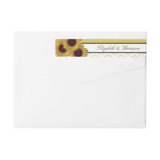 Sunflowers and Vintage Lace Wedding Wrap Around Label