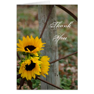 Sunflowers and Wagon Wheel Country Thank You Note Cards