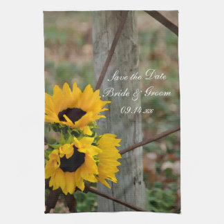 Sunflowers and Wagon Wheel Wedding Save the Date Tea Towels