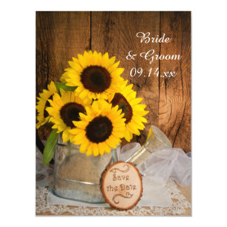 Sunflowers and Watering Can Wedding Save the Date Magnetic Card