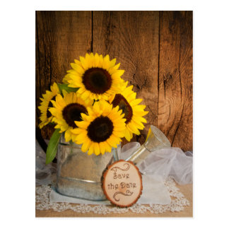 Sunflowers and Watering Can Wedding Save the Date Postcard