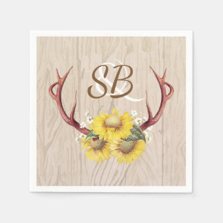 Sunflowers Antlers Rustic Country Wooden Wedding Paper Serviettes