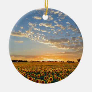 Sunflowers at Sunset Christmas Ornament
