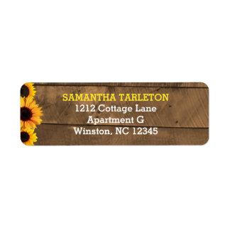 Sunflowers & Barnwood Gold Address Labels