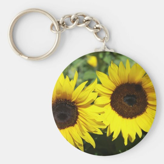 Sunflowers Basic Round Button Key Ring