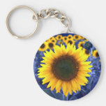 Sunflowers Basic Round Button Key Ring