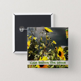 Sunflowers Before The Storm Clouds Photograph 15 Cm Square Badge
