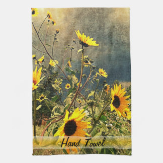 Sunflowers Before The Storm Clouds Tea Towel