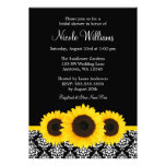 Sunflowers Black and White Damask Bridal Shower Personalized Announcements