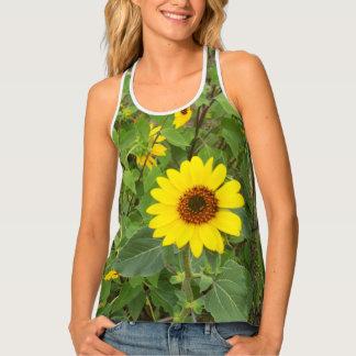 Sunflowers Blowing In Wind, Ladies Racerback Tank