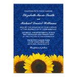 Sunflowers Blue Damask Wedding 13 Cm X 18 Cm Invitation Card