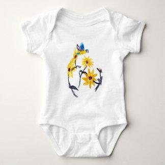 Sunflowers Bluetit Floral Art Baby Bodysuit