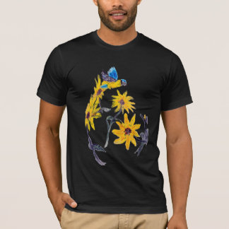 Sunflowers Bluetit Floral Art T-Shirt