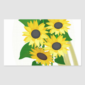Sunflowers Bouquet Rectangular Sticker