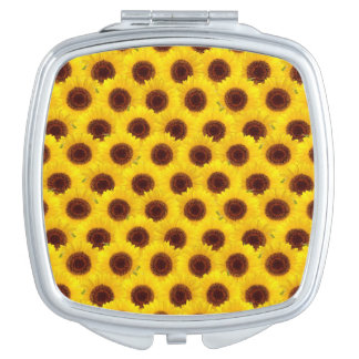 Sunflowers Bright Yellow & Brown Flowers compact Mirrors For Makeup
