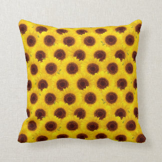 Sunflowers Bright Yellow & Brown Flowers Pillow Cushions