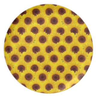 Sunflowers Bright Yellow & Brown Flowers plate
