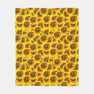 Sunflowers Bright Yellow Flower Summer Pattern Fleece Blanket
