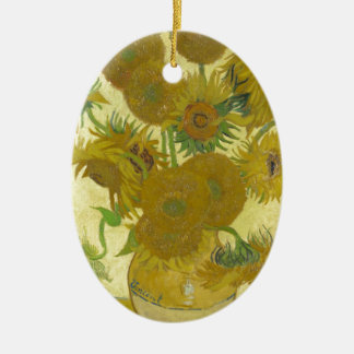 Sunflowers By Vincent Van Gogh Ceramic Oval Decoration