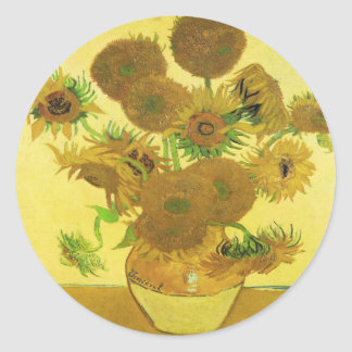 Sunflowers By Vincent Van Gogh Classic Round Sticker