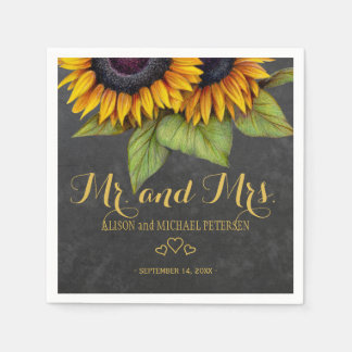 Sunflowers chalkboard mr and mrs script wedding paper napkins