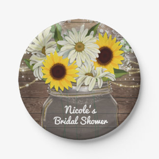 Sunflowers & Daisies Mason Jar Sparkle Rustic Chic 7 Inch Paper Plate