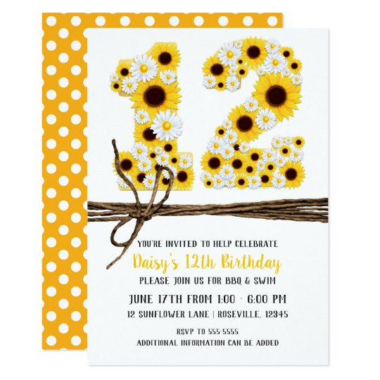 Sunflowers & Daisies TWELVE 12 12TH Birthday Party