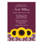 Sunflowers Deep Mulberry Damask Bridal Shower Invitations