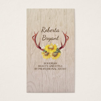 Sunflowers Deer Antlers Rustic Country Floral Wood Business Card