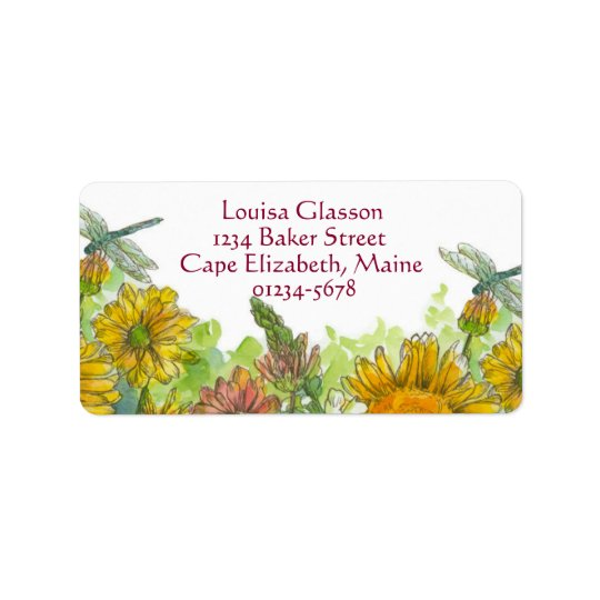 Sunflowers Dragonfly Yellow Watercolor Flowers Label