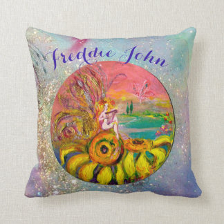 SUNFLOWERS FAIRY PINK BLUE FLORAL Boy Baby Status Cushion