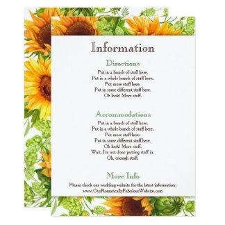 Sunflowers Floral Wedding Information Details Card