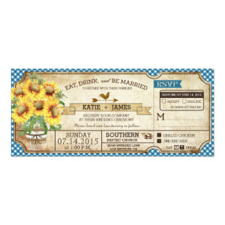 Sunflowers Gingham Check Country Picnic Wedding 10 Cm X 24 Cm Invitation Card