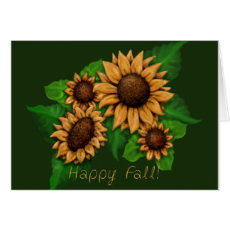 Sunflowers, Happy Fall! Greeting Card, Customize Card