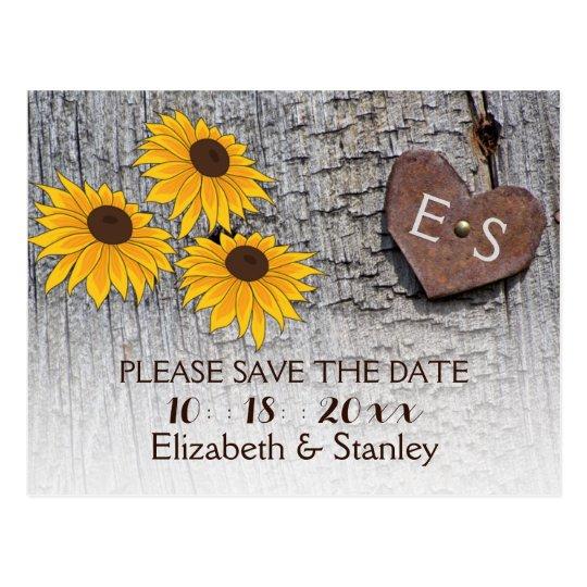 Sunflowers & heart on wood wedding Save the Date Postcard