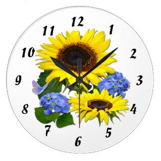 Sunflowers  & Hydrangeas ~ Clock