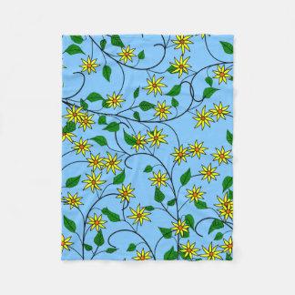 Sunflowers in a Blue Background Fleece Blanket