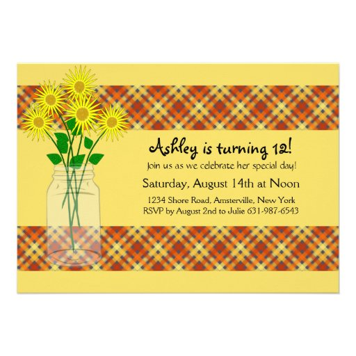Sunflowers in a Jar Invitation