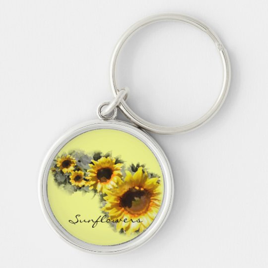 Sunflowers in a Row Silver-Colored Round Key Ring