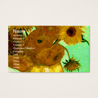 Sunflowers in a Vase Van Gogh Fine Art Business Card