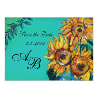 SUNFLOWERS IN BLUE TURQUOISE SUMMER PARTY MONOGRAM 13 CM X 18 CM INVITATION CARD
