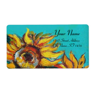 SUNFLOWERS IN BLUE TURQUOISE ,SUMMER PARTY SHIPPING LABEL