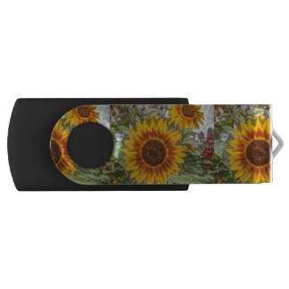 Sunflowers in field swivel USB 2.0 flash drive