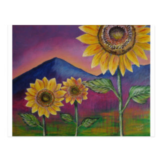 Sunflowers in front of Mountains Postcard