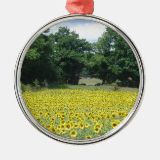 Sunflowers in Limousin Silver-Colored Round Decoration