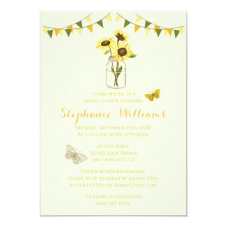 Sunflowers in Mason Jar w/ Butterflies & Bunting 13 Cm X 18 Cm Invitation Card